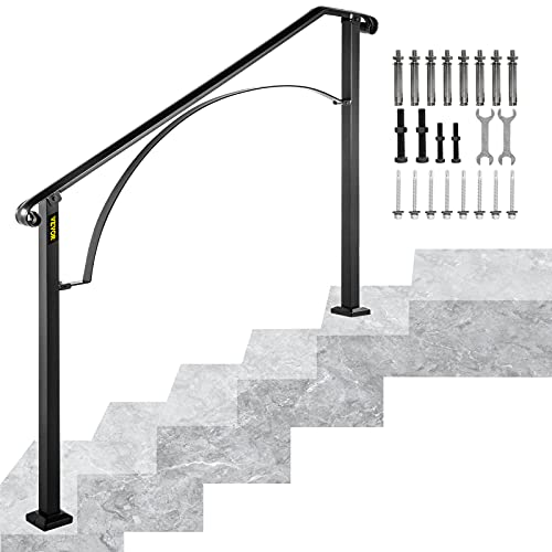 Happybuy Handrails for Outdoor Steps, Fit 4 or 5 Steps Outdoor Stair Railing, Arch#4 Wrought Iron Handrail, Flexible Porch Railing, Black Transitional Handrails for Concrete Steps or Wooden Stairs