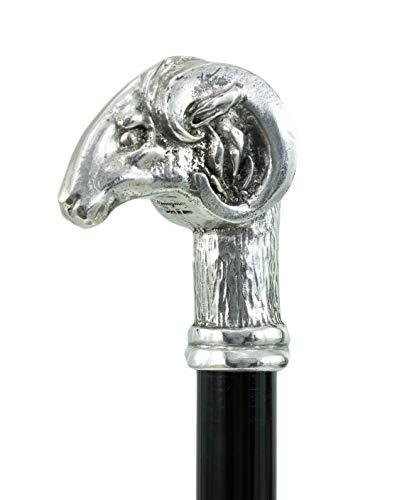 Cavagnini Gehstock, Griff in Form eines Widders, Holz und solides Zinn, maßgefertigte Länge, hergestellt in Italien, Handwerkskunst