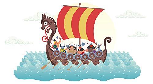 Pegatina de pared cuarto de los niñosBarco vikingo de colores adhesivo barco a pegar pared barco adhesivo mar adhesivo océano marítimo