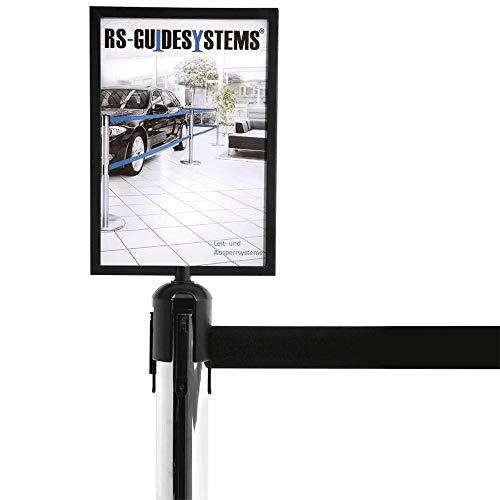 RS-GUIDESYSTEMS GLS 40-175 Schildtafel DIN A4 Hochformat, Aufsatz für Gurtpfosten und Personenleitsystem aus Aluminium,Glas