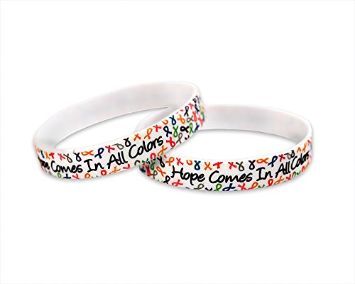 Hope Comes In All Colors Multi Colored Ribbon Silicone Bracelet - Cancer Wristband w/ Different Ribbon Colors - Cancer Survivor & Support (50 Bracelets)