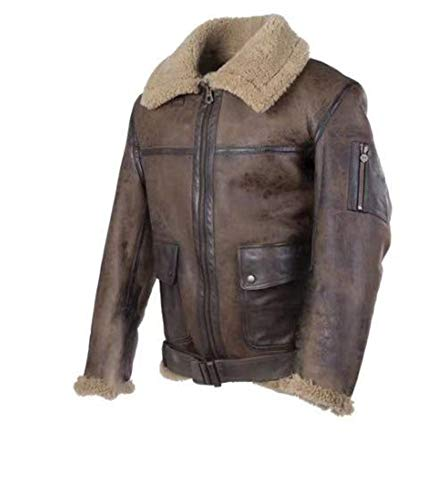 BJHIOJ Herren Vintage Schaffell Jacke Revers Fell Leder Jacke Cashmere Shearling Coat Overcoat,Braun,XXL