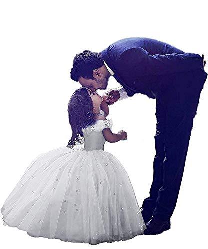 CDE Kinder Aschenputtel Prinzessin Kleid mit Strass Mädchen Lang Tüllkleider Schulterfrei Ballkleider Cocktailkleid (Weiß, Größe 8)