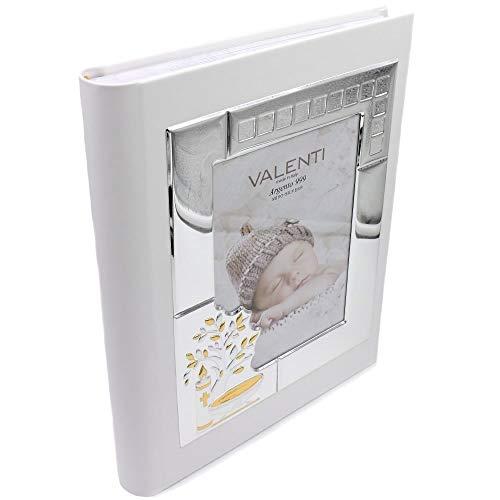 Valenti Argenti Album Fotografico Battesimo Personalizzabile in Ecopelle Bianca con Foto Copertina cm 13 x 18