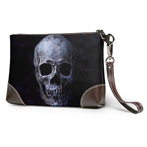 XCNGG Soft Waterproof Wristlet Brieftasche Telefon Dark Horned Demon Skull Damen Leder Clutch mit Reißverschluss für Frauen Mädchen