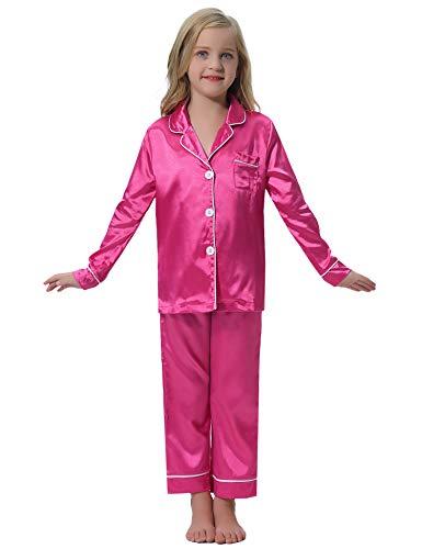 Hawiton Kinder-Schlafanzug Mädchen Satin Pyjama Set Langarm Lange Button-Down Nachtwäsche für Kinder Jungen Mädchen Langarm Zweiteilige Kleidung Set