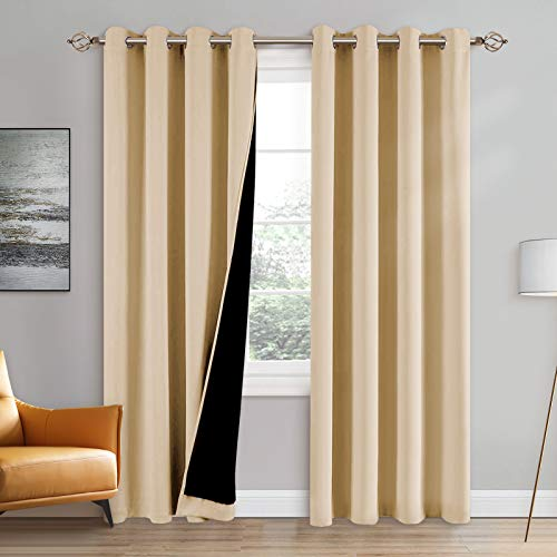 100% Double-Layer Blackout Curtains Home Decoration Thermal Insulated Solid Grommet Blackout Curtains Drapes for Living Room Bed Room (Set of 2, W52 x L84, Biscotti Beige)