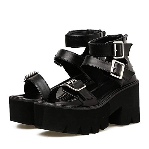 ACWTCHY Knöchelriemen Sommermode Frauen Sandalen Open Toe Plateauschuhe High Thick Heels Weibliche Schwarze Schuhe 7 schwarz