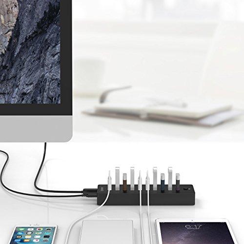 ORICO USB 3.0 Hub, 10 Ports, mit Hauptschalter und 12V4A Netzteil - Highspeed Datenhub für Desktop-PC Computer Notebook MacBook iMac
