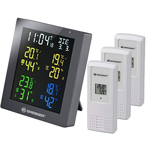 Bresser Thermometer & Hygrometer Clima Temp Hygro Quadro Colour mit 4 verschiedenen Messpunkten inklusive 3 Außensensoren, grau