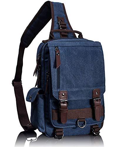 AHJSN Retro Messenger Bag Mochila de Hombro de Lona Mochila de Viaje Sling Bag 29 * 11 * 33 cm Azul Oscuro, m