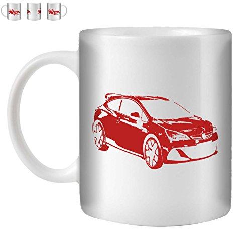 STUFF4 Tee/Kaffee Becher 350ml/Rot/Opel Astra OPC J/Weißkeramik/ST10