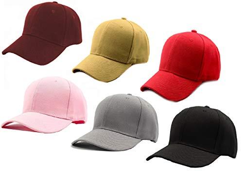 ALCOVE…Refine your image Cotton Men's Cap Combo of 6 Caps (Pink, Maroon, Beige, Grey, Black, Red Set: 6 Caps), Free Size