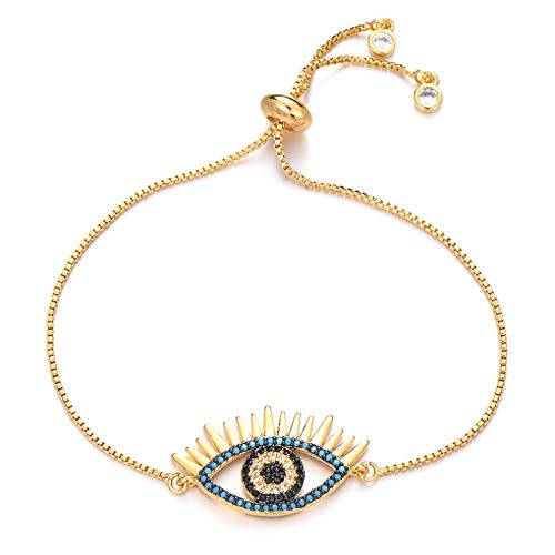 Jewellery Bracelets Bangle For Womens Fashion Bracelet Copper Blue & Black Zircon Charm Adjustable Chain Bracelets For Women Men Unisex Jewelry Gold