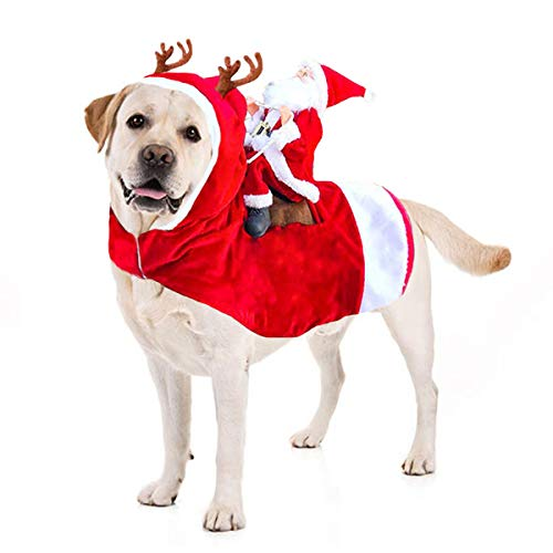 Kyerivs Christmas Pet Costume Running Santa Riding on Dog Pet Cat Outfits Disfraces de Navidad Perro Santa Disfraz...