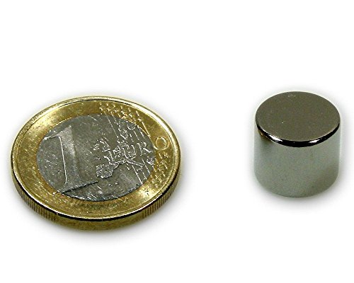 5 x Aimant rond Disque magnétique Ø 12 x 10mm Néodyme N45, Nickelé - Force d'adhérence: 7,6kg - 5 pièces - Aimants ronds puissants, Disques magnétiques