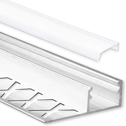 LED Fliesenprofil Alu Profil 2 Meter inkl. Abdeckung - Fliesen - Aluminium für LED Streifen bis 12mm Breite - 2000mm Länge (Abschlussprofil Fliesen - satinierte / milchige Abdeckung)