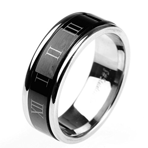 HIJONES Jewellery Mens Stainless Steel Roman Numerals Turn Luck Rings, Black and Silver Size U