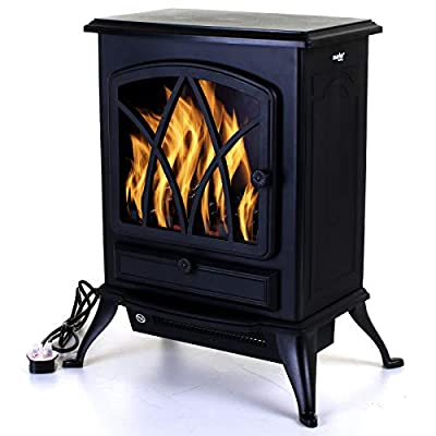 Marko Heating Electric Fireplace Black 2000W Heater Log Burning Flame Effect Stove Living Room