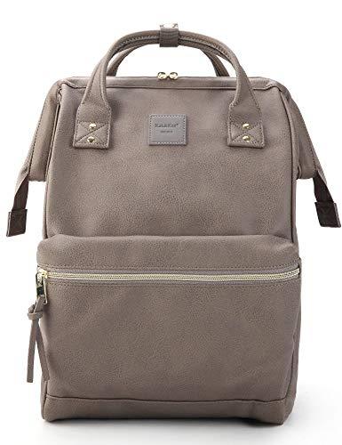 Kah&Kee Leder Rucksack Wickeltasche mit Laptopfach Travel School für Damen (Grau, Groß)