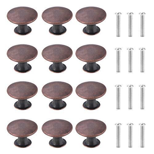 TsunNee 12 pomelli vintage per armadietti, pomelli per cassetti, maniglie antiche da cucina, pomelli rotondi da 30 mm, colore: rosso bronzo