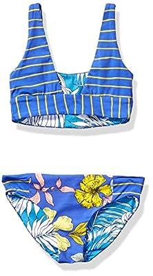 Maaji Girls' Square Neck Bralette Bikini Swimsuit Set, Maris Freckles Blue Floral, 10