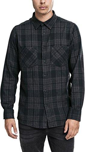Urban Classics Herren Langarmshirt Hemd Checked Flanell Shirt 2 mehrfarbig (Charcoal/Schwarz) Small