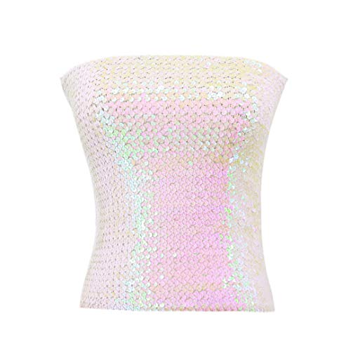 Hoohu Women's Sexy Fashion Glitter Sequin Stretchy Strapless Seamless No-Padded Wrapped Chest Bandeau Tube Top Bra White