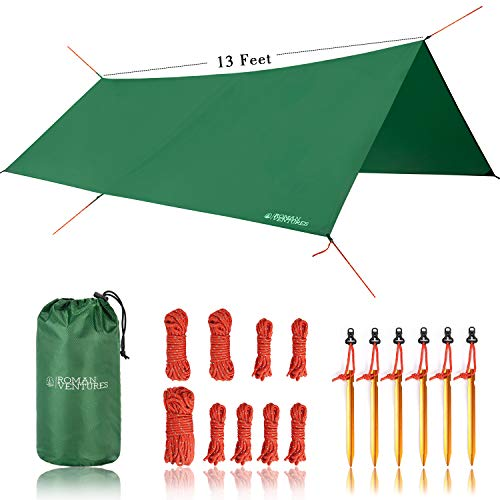 Roman Ventures 13 Foot Rain Fly for Hammock –Light Weight, Diamond-Ripstop Polyester Hammock Rainfly- 2000 PU Waterproof Eno Rain Cover– Rainfly Backpacking Tarp (13 Foot Rectangle)