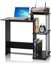 FURINNO Efficient Home Laptop Notebook Computer Desk, Square Side Shelves, Black/Grey