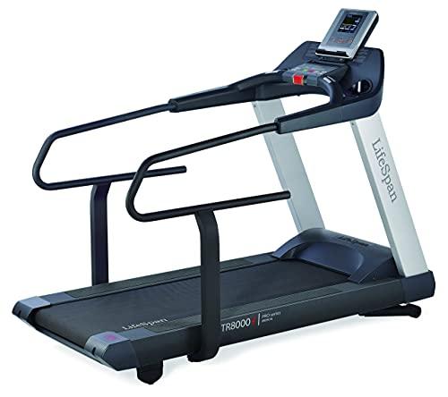 LifeSpan Fitness TR8000i Laufband mit großer Lauffläche 157 x 56 cm und Armlehnen für Physiotherapie und Rehabilitation | Steigung -3 bis + 12% | Vorwärts und rückwärts gehen | Bis zu 19 km/h