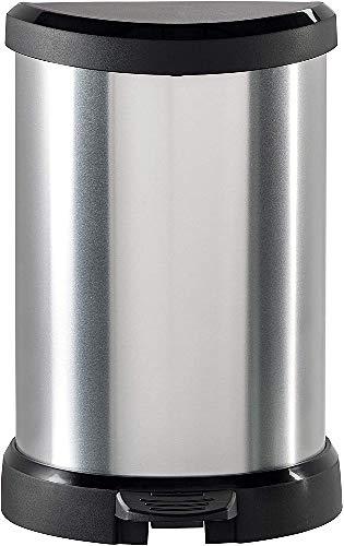 Curver 220959 - Cubo decorado con pedal 20 L, Metal, 28.3x24.8x42.8 cm