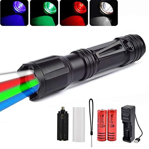 Multicolor LED Linterna Táctica con Zoom Linterna LED 4 en 1 con Luz Roja, Verde, Blanca y Azul, Nocturna Linterna de Mano a Prueba de Agua con Clip Para Caza Nocturna Pesca, Acampada, Camping
