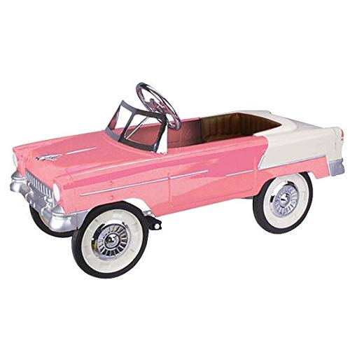 Blue Diamond Classics Retro Tri-Five 1955 Fits Chevy Steel Metal Pedal Car, Pink/White