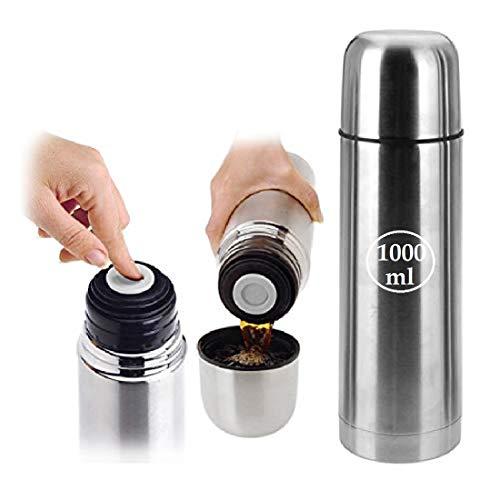 Oramics Thermosflasche mit Druckknopf Doppelwandige Edelstahl Isolierflasche – 500ml, 750ml oder 1.000ml – Thermoskanne Isolierkanne hält bis zu 12 Stunden warm (1000 ml)