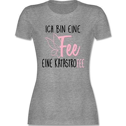 Sprüche - Ich Bin eine Fee - M - Grau meliert - Trink Tshirt - L191 - Tailliertes Tshirt für Damen und Frauen T-Shirt