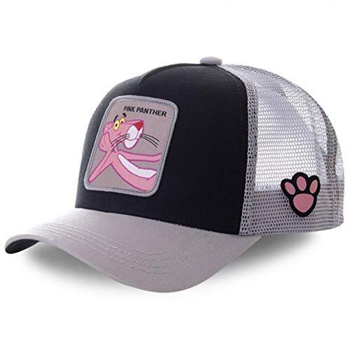 JJZZ Baseball cap Anime Dragon Ball Captain Baumwolle Baseball Kappe Männer Frauen Hip Hop Papa Mesh Hut Trucker Hut,Pink Panther Black