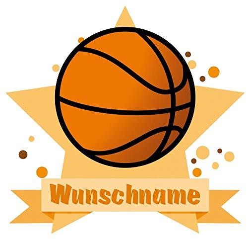 Samunshi® Basketball Wandtattoo Türschild mit Name personalisierbar Kinderzimmer Türaufkleber Baby Wandaufkleber in 9 Größen (50x43cm Mehrfarbig)
