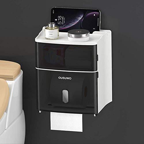Gecfun Nehmen Sie Staubdichte Und wasserdichte Papierhandtuchbox Rollkarton Bad Pumpe Tablett Multifunktionale Papierhandtuchbox Rax Baxter Black (Premium)