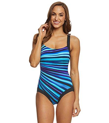 Reebok Damen 781009 Einteiliger Badeanzug, blau, 38
