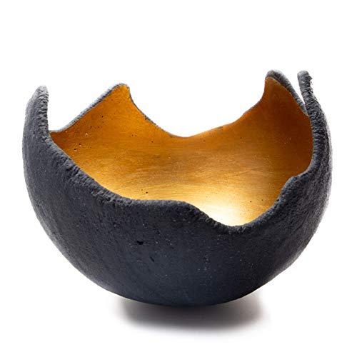 Lichtschale gold - M (20cm) - Beton schwarz - grau - Unikat handmade - Windlicht - Geburtstagsgeschenk - Deko - Weihnachtsgeschenk