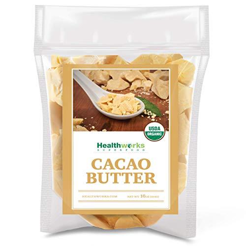 Healthworks Cacao Butter (16 Ounces / 1 Pound) Organic   Unrefined Non-Deodorized Cocoa   Certified Organic from Peru   Sugar-Free, Vegan & Non-GMO