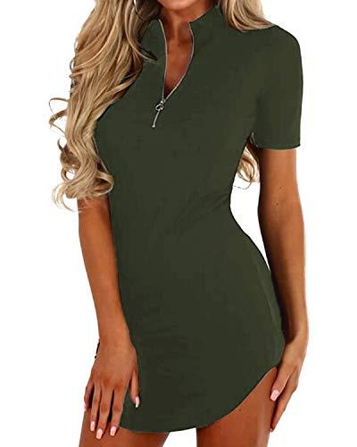 YOINS Sexy Damen Oberteile Kurz Sommerkleid V Ausschnitt Kleider Schwarz Damen Elegant Einfarbig Abendkleider Party Grün XS