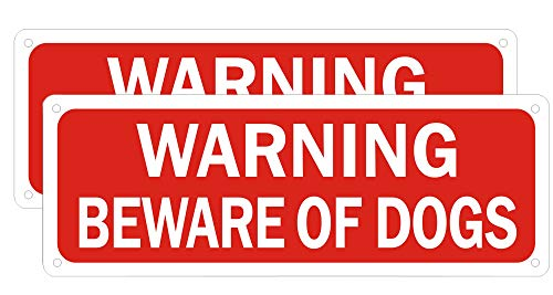Beware of Dog Sign for Fence Yard Front Door Gate, Warning Metal Beware Dog Signs for the Lawn Outdoor Window, Fade Resistant Rust Free Easy Mounting Red Aluminum (2 Pack 10 x 3.5 inches)
