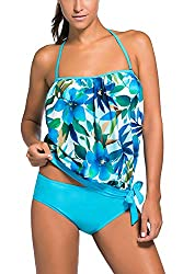 This Tankini Set is Made of Soft & Durable Fabrics, with Elastic Bandeau Neckline, Comfy to Wear A Flowing Layer Over a Sporty-Style Swim Top, Unique Layered Design Looks Fashionable and Offers Better Sun Protection This Classic Swimsuit is Styled in...