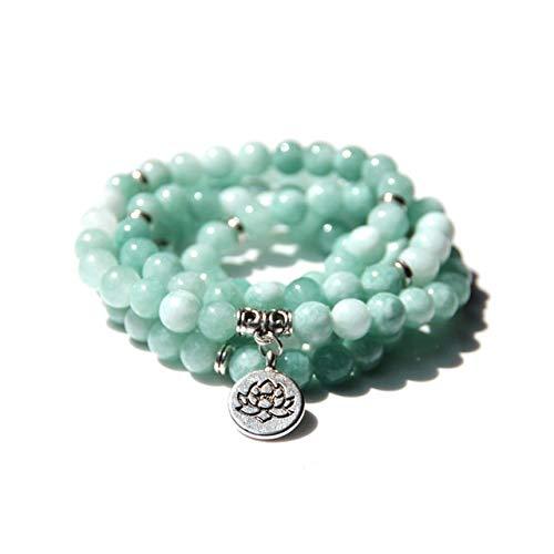 YANGYANG 108Collares y Pulseras para Hombres Green Angelite Jades Yoga Pulsera Pulsera Lotus Stone Beads Bangle Jewelry -9,8Mm
