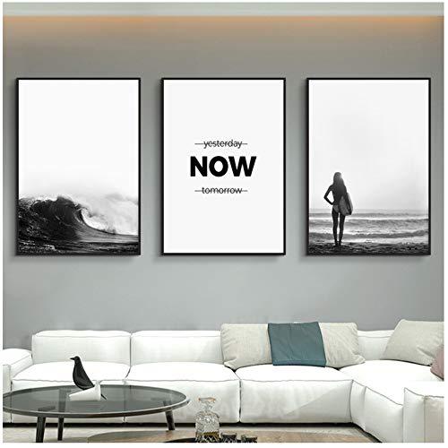 WANGZELINFBH Leinwand Wandkunst Ozeanwellen Landschaft Leinwand Poster Natur Nordic Wandkunst Schwarz Weiß Surfen Mädchen Malerei Bild Home Decor-40x60 cm Kein Rahmen