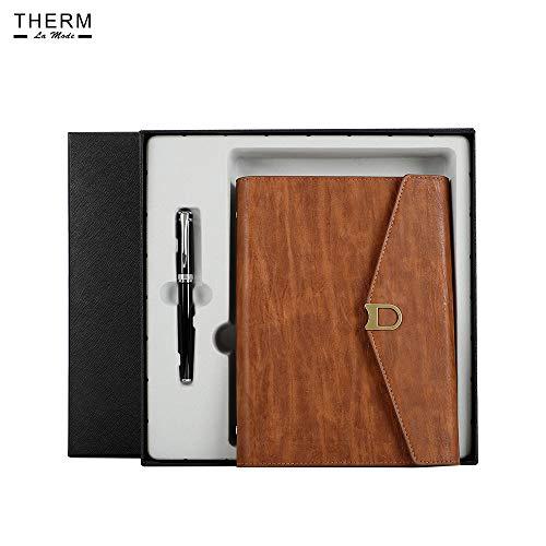 Quaderno A5 Therm La Mode con squisito set regalo, penna, copertina in pelle Notebook sfoderabili a fogli mobili, tasche per biglietti da visita per organizer per riunioni, marrone