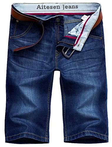 AITESEN N6061 Herren Jeans Shorts Sommer Kurze Hose ohne Guertel W28-W44 Dunkelblau-36