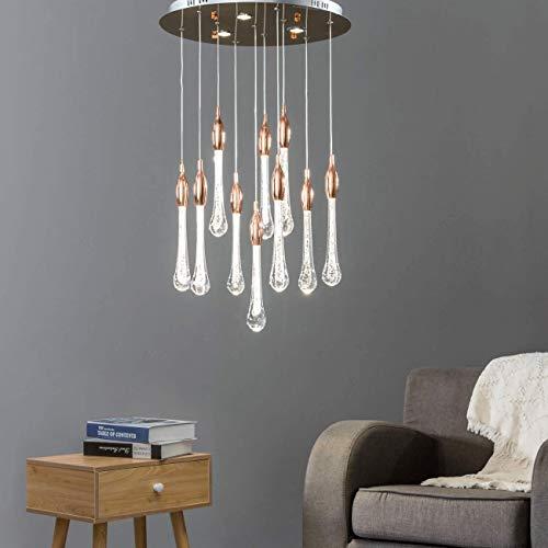 KOSILUM - Suspension LED à multiples larmes de cristal - Emae - Lumière Blanc Chaud Eclairage Salon Chambre Cuisine Couloir - 59W - 6097 lm - LED intégrée - IP20